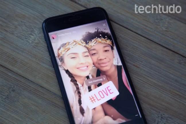 Hashtag no Stories do Instagram — Foto: Carolina Ochsendorf/TechTudo
