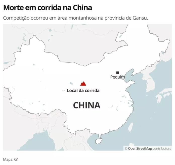 MAPA - Corrida na China — Foto: G1 Mundo