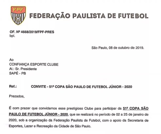 Documento da Federação Paulista de Futebol, confirmando uma vaga destinada ao Confiança-PB na Copinha 2020 — Foto: Divulgação / FPF-PB