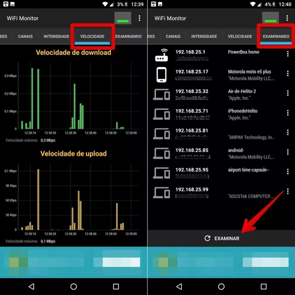 Saiba a velocidade e os dispositivos conectados à rede pelo app WiFi Monitor — Foto: Reprodução/Helito Beggiora