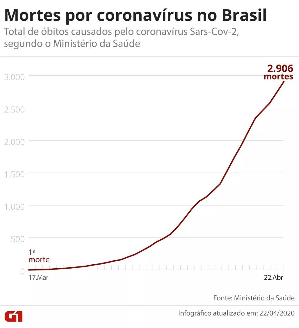 Brasil tem 2.906 mortes registradas — Foto: Guilherme Pinheiro / G1