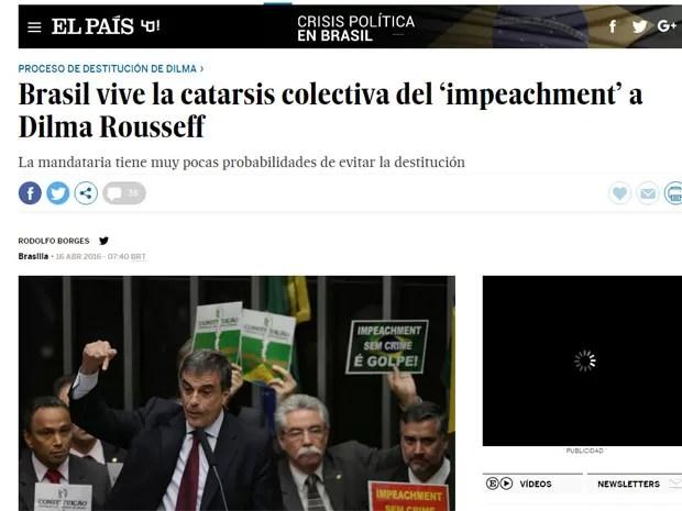 Reportagem do El País. (Foto: Reprodução/El País)