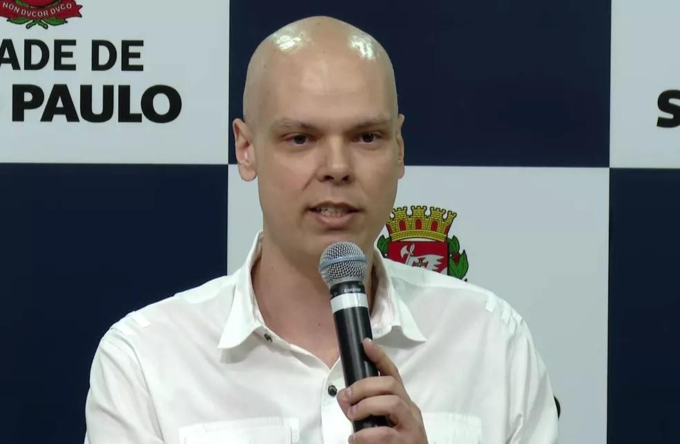 O prefeito de São Paulo, Bruno Covas (PSDB), durante coletiva de imprensa em janeiro de 2020. — Foto: Reprodução/TV Globo
