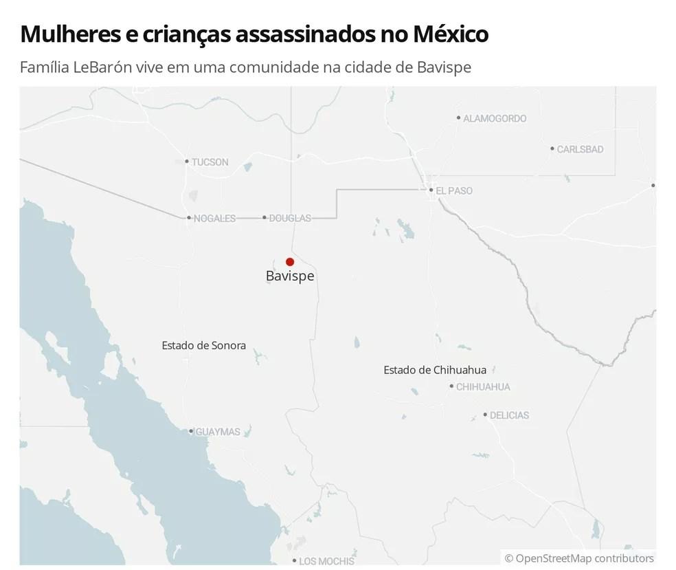 Imagem mostra localização da cidade de Bavispe, no México — Foto:  G1