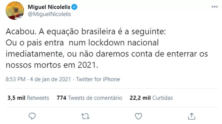 Miguel Nicolelis defende lockdown nacional como medida para frear crescimento do número de casos — Foto: Redes Sociais