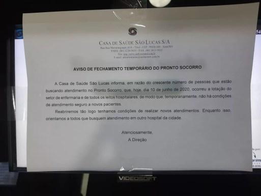 Casa de Saúde São Lucas fechou o pronto-socorro após superlotação — Foto: Redes sociais