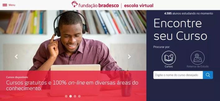 Escola Virtual da Fundação Bradesco disponibiliza cursos com certificado — Foto: Reprodução/Thiago Siqueira