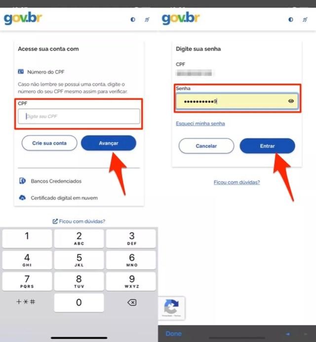 Ação para logar da plataforma Conecte SUS no celular — Foto: Reprodução/Marvin Costa