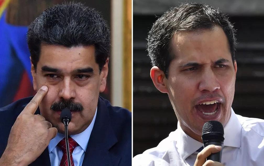 montagem com fotos de Nicolás Maduro e Juan Guaidó — Foto: Yuri Cortez/AFP