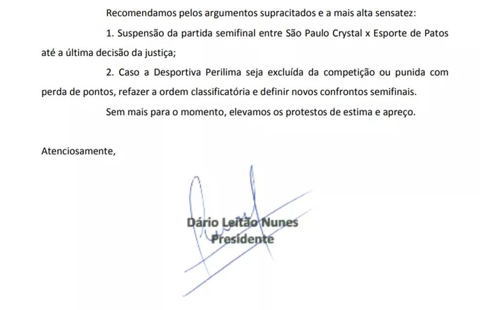 documento esporte de patos 2 - Esporte de Patos solicita que a FPF paralise a 2ª divisão até que o caso da Perilima seja julgado