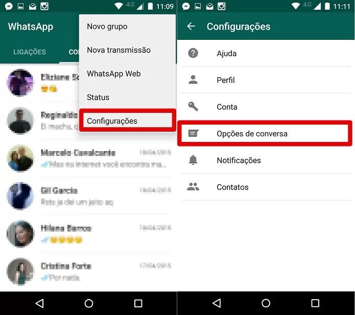 Acessando as opções de conversa do Whatsapp