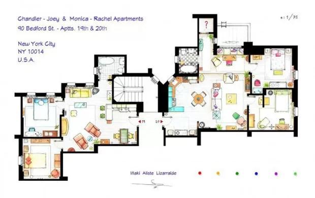 Os apartamentos de Chandler & Joey e Rachel & Monica na série Friends (Foto: Nikneuk)