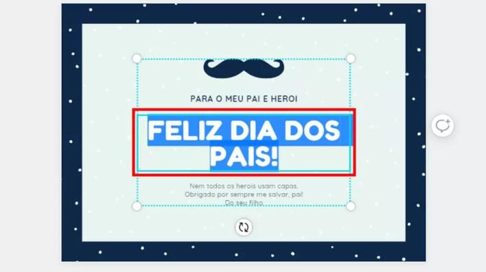 Edite frases do design escolhido no Canva — Foto: Reprodução/Paulo Alves