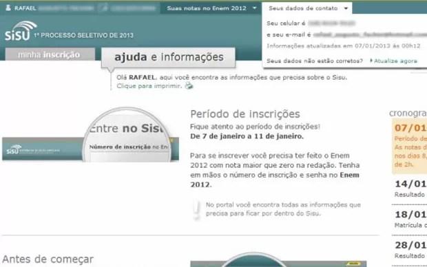O internauta Murilo Gonçalves diz que apareceram os dados de um estudante de nome Rafael (Foto: Arquivo pessoal)