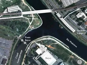 Mapa indica localização da ponte móvel (Foto: Divulgação/Secretaria de Energia)