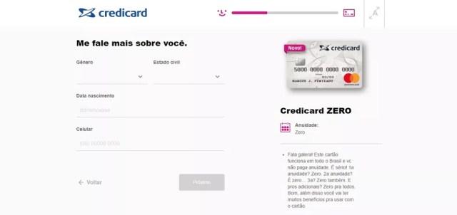 Credicard Zero: solicitação é feita pelo site (Foto: Reprodução/Bruno Soares)