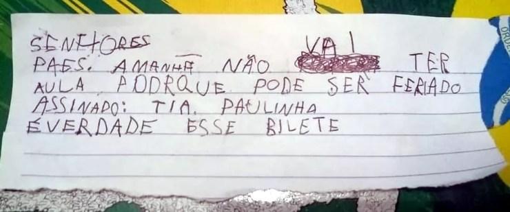 Menino escreveu bilhete em nome da professora para faltar à escola em Bocaina (SP) (Foto: Arquivo pessoal)