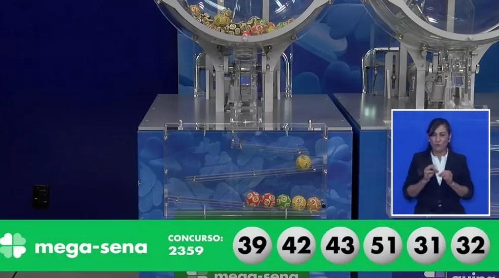 Números sorteados no concurso 2359 da Mega-Sena — Foto: Reprodução/Caixa