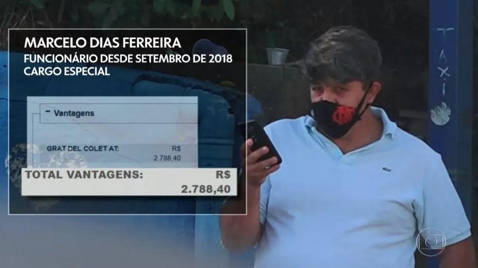Marcelo Dias Ferreira tem cargo especial e salário bruto de R$ 2.788 — Foto: Reprodução/TV Globo