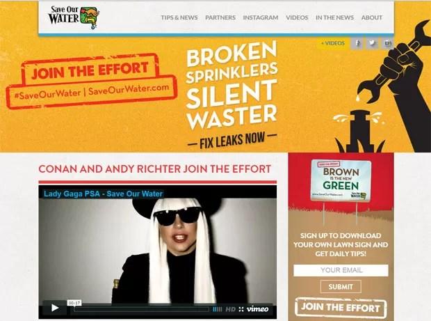 """Reprodução da página principal do site """"Save Our Water"""", criado pelo governo da Califórnia para conscientizar a população sobre a seca no estado. A cantora Lady Gaga foi uma das celebridades que gravou vídeo de conscientização (Foto: Reprodução/Saveourwater.com)"""