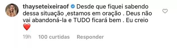 Thayse Teixeira manda apoio para os familiares de Liliane Amorim (Foto: Reprodução / Instagram)