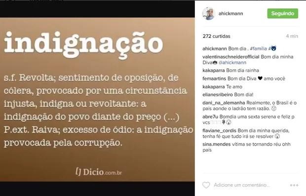 Ana Hickmann faz post sobre 'indignação' após denúncia do MP
