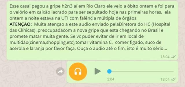 Mensagem falsa tem se espalhado nas redes (Foto: Reprodução/WhatsApp)