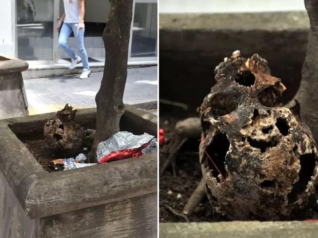 Um crânio supostamente humano é encontrado em jardineira de uma das entradas do edifício Copan, região central de São Paulo. A polícia permaneceu no local aguardando a chegada da perícia. Segundo a PM, ninguém sabe como o crânio foi parar no local. (Foto: J. Duran Machfee/Futura Press/Estadão Conteúdo)