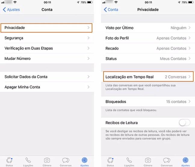 Acesse a privacidade e localização em tempo real no WhatsApp — Foto: Reprodução/Barbara Mannara