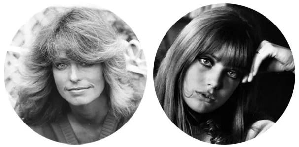"""Jane Birkin: """"É a minha preferida. Tenho usado demais como referência nas clientes que querem um visual jovem.""""  Farrah Fawcett: """"O franjão da maior das Panteras ficou meio datado... Sem tanto volume, porém, é uma opção prática."""" (Foto: Getty Images)"""