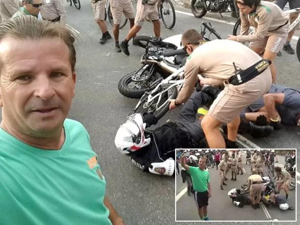 Zé Carlos ficou famoso após tirar selfie ao lado de acidente durante desfile da tocha em Osasco (Foto: José Carlos Almeida Cruz/Arquivo pessoal)