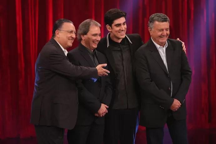 Na primeira gravação, Adnet recebeu Galvão Bueno com os amigos Reginaldo Leme e Arnaldo Cézar Coelho (Foto: Isabella Pinheiro/ Gshow)