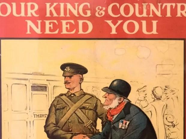 Pôster para convocar soldados para a 1ª Guerra Mundial (Foto: Reprodução/ Remembering 1916: Life on the Western Front)