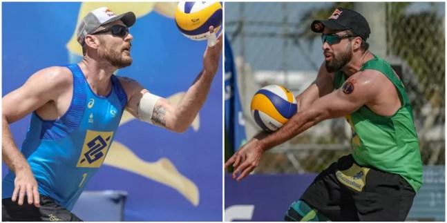 Alison Ceruti e Bruno Schmidt, capixabas do vôlei de praia — Foto: Wander Roberto e Ana Patrícia/Inovafoto/CBV