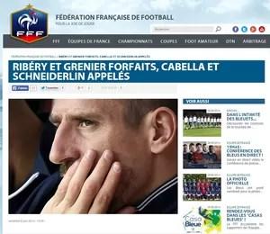 Federação francesa anuncia corte de Ribéry (Foto: Reprodução / FFF)