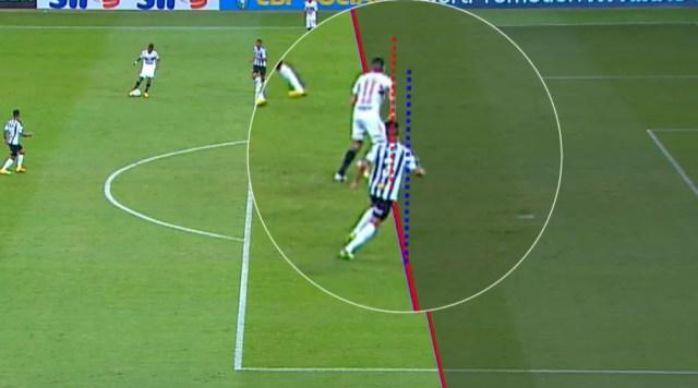 Imagem utilizada pelo VAR para anular o gol de Luciano, do São Paulo, contra o Atlético-MG — Foto: SporTV