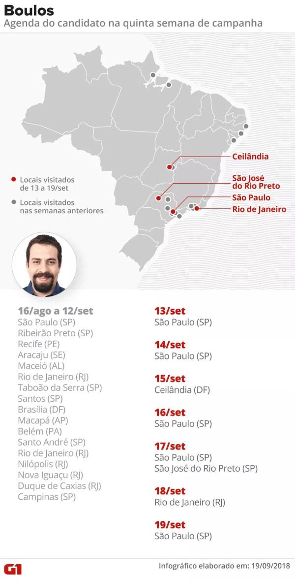 Mapa das agendas de campanha de Guilherme Boulos — Foto: Alexandre Mauro/G1