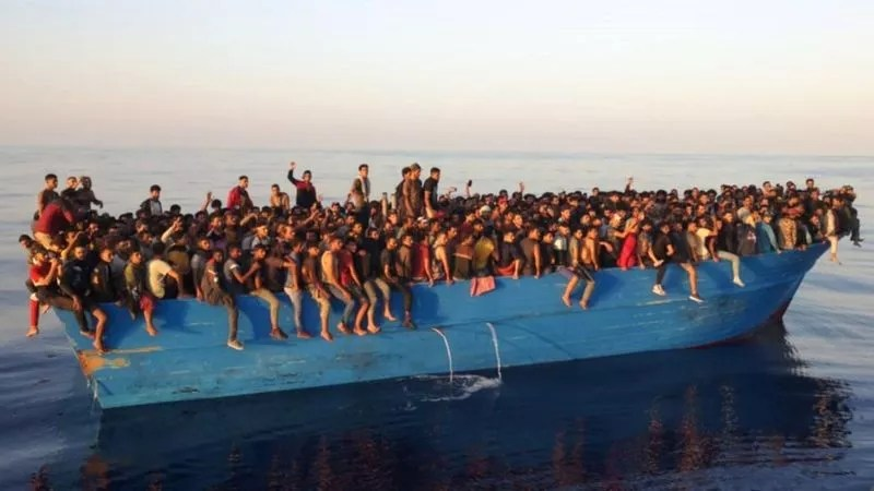 Italy's coast guard found the vessel adrift full of people, some of whom were injured (Photo: EPA/BBC)