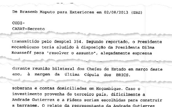 Telegrama secreto do Itamaraty relata que Dilma se dispôs a destravar o empréstimo camarada do BNDES para Moçambique