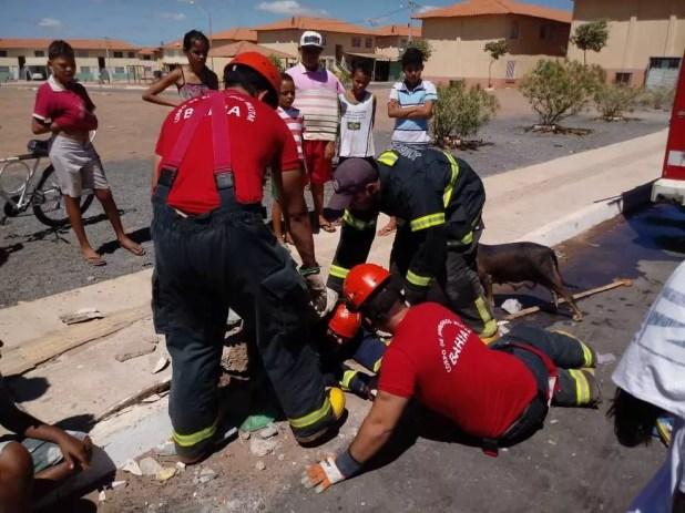 Cachorro é resgatado pelo Corpo de Bombeiros na cidade de Luís Eduardo Magalhães (Foto: Divulgação/Corpo de Bombeiros)