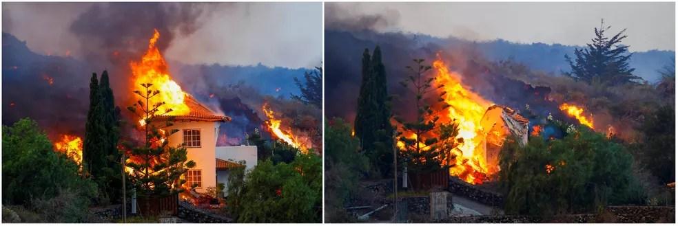 Casa foi destruída depois de ser atingida por lava de vulcão na ilha de Las Palmas, em 20 de setembro de 2021 — Foto: Borja Suarez/Reuters