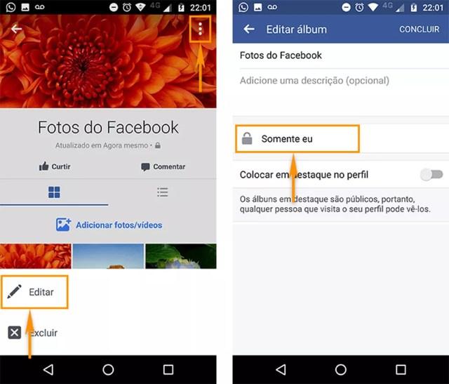 Edite a privacidade do seu álbum do Facebook pelo aplicativo do Android (Foto: Reprodução/Barbara Mannara)