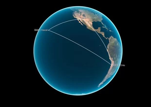 Três telescópios -- um no Chile e outros dois nos EUA -- foram utilizados para reproduzir essa imagem. (Foto: Divulgação/ESO)