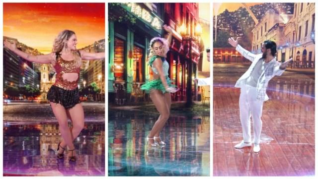 Paolla Oliveira, Dandara Mariana e Rodrigo Simas dançam samba na final do 'Super Dança dos Famosos' — Foto: Globo