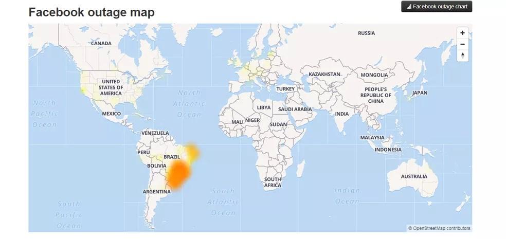 Mapa do site Down Detector aponta que as reclamações de instabilidade no Facebook se concentram no Brasil — Foto: Reprodução/G1