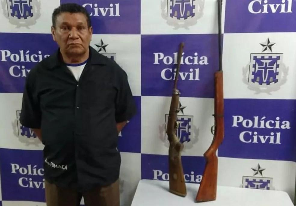 Idoso foi preso em Pindobaçu, norte da Bahia, na quarta-feira (12). — Foto: Polícia Civil / Divulgação