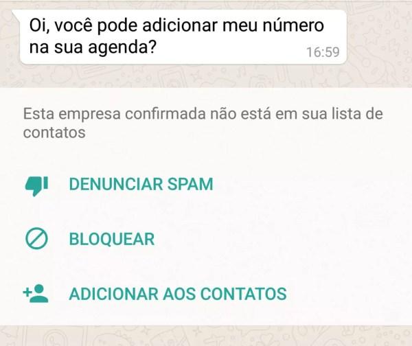 WhatsApp permite que usuário que recebe a primeira mensagem denuncie o contato como spam, bloqueie ou adicione aos contatos (Foto: Reprodução)