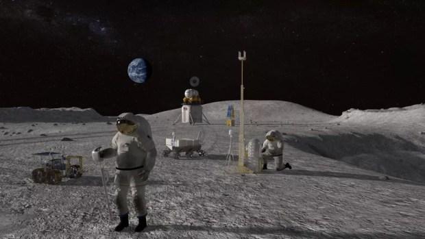 Protótipo de como será o pouso futuro do ser humano na Lua — Foto: Nasa
