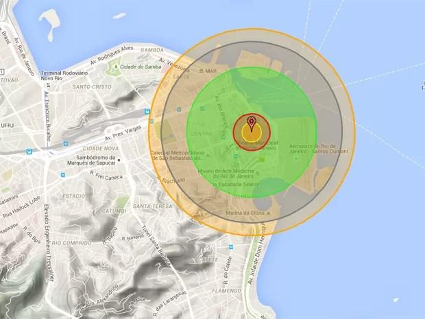 Nuke Map simula detonação da bomba 'Little Boy' no centro do Rio de Janeiro (Foto: Reprodução/ NukeMap)