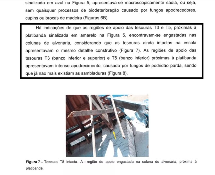 Laudo aponta que estrutura de madeira do teto de creche em Agudos estava comprometida (Foto: Divulgação/IPT)
